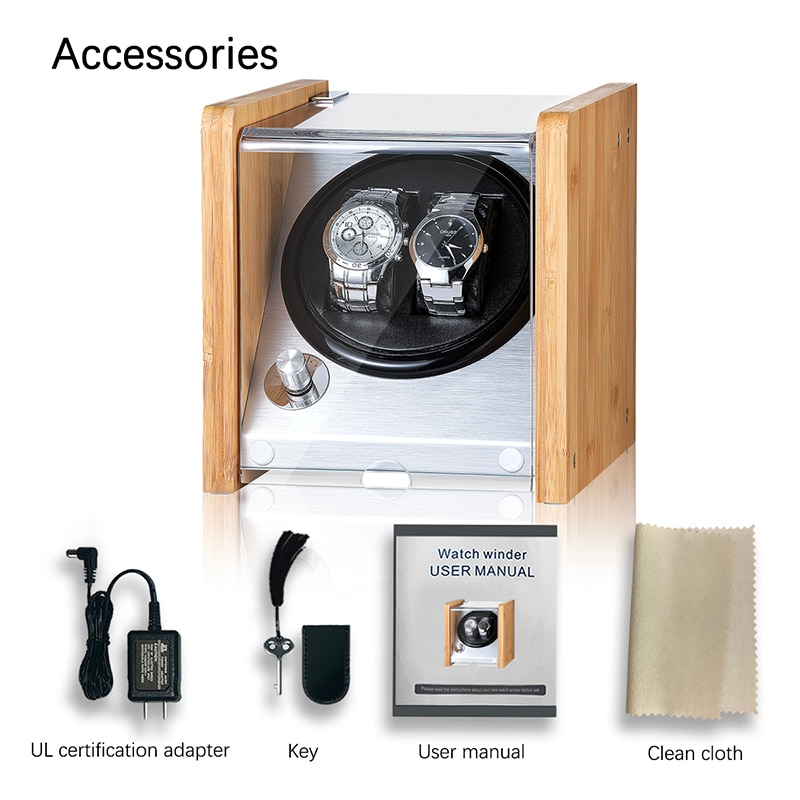 Double Watch Winders Wooden Acrylic Window Black Carbon Fiber Quiet Motor Storage Display Watches Box  PU Leather LED Light enlarge