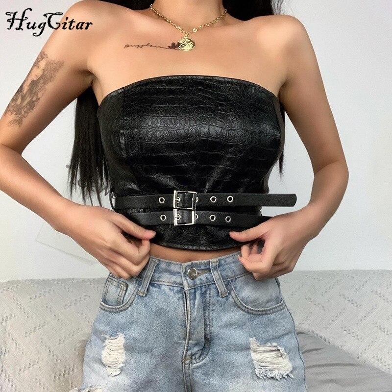 Hugcitar 2020 PU leather buckle band patchwork belt sexy crop tube top summer women fashion club wear streetwear