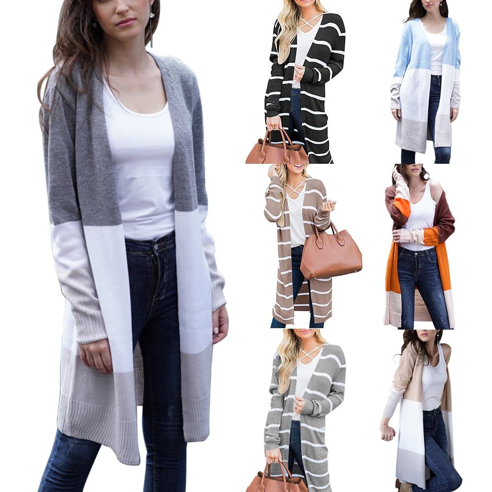 2020 Chaquetas de punto de moda suéteres de punto mujeres otoño fino de punto Cardigan suéter de algodón ropa larga abrigo femenino de talla grande 2XL