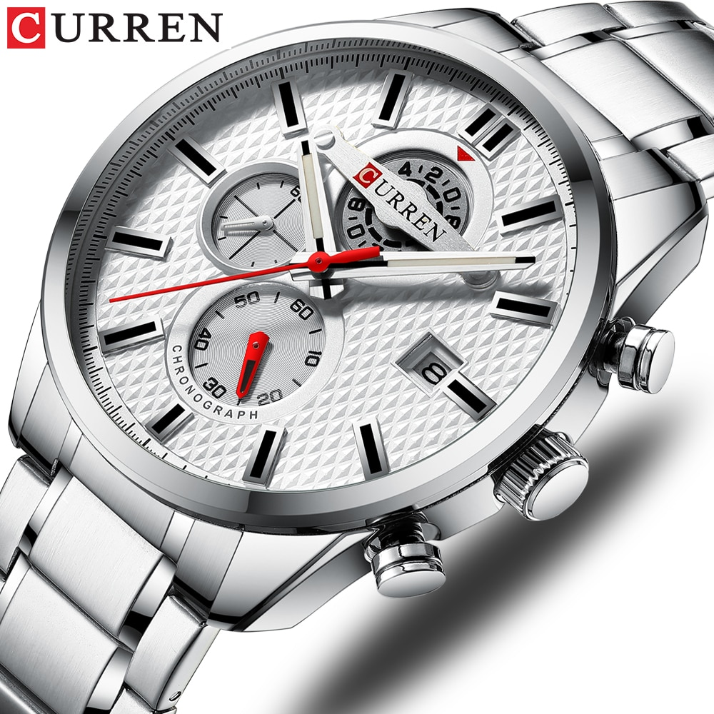 CURREN Fashion Causal Sports Watches Mens Luxury Quartz Watch Stainless Steel Chronograph and Date L