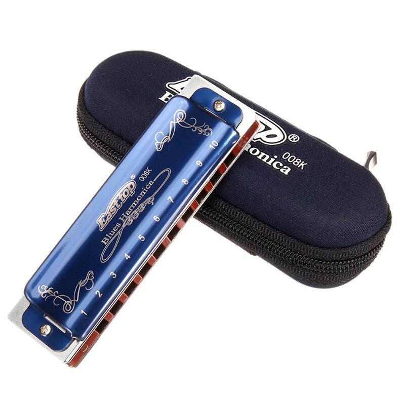 Easttop T008K 10 穴ブルースハーモニカ限定版ブルー色ダイアトニックハープ楽器を B C D E F G キーとケース