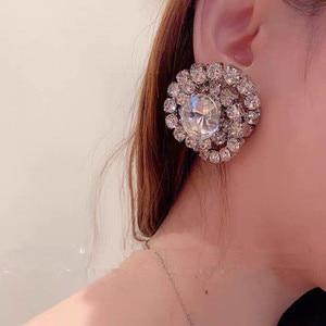 New Luxury Shiny Rhinestone Gems Dangle Earrings For Women Jewelry Party Show Lady's Evening Dress Statement Earrings Hot Sale