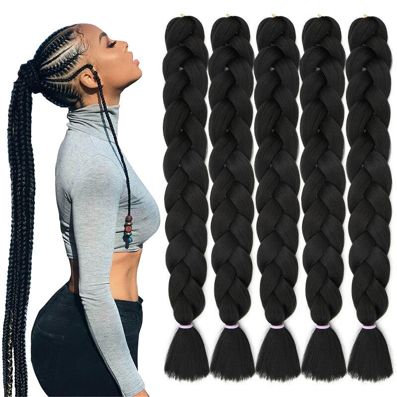 Natifah 165g  Jumbo Braid Hair Braids Synthetic Jumbo Braiding Hair Extensions Pre Stretched Hot Sale Bug Color