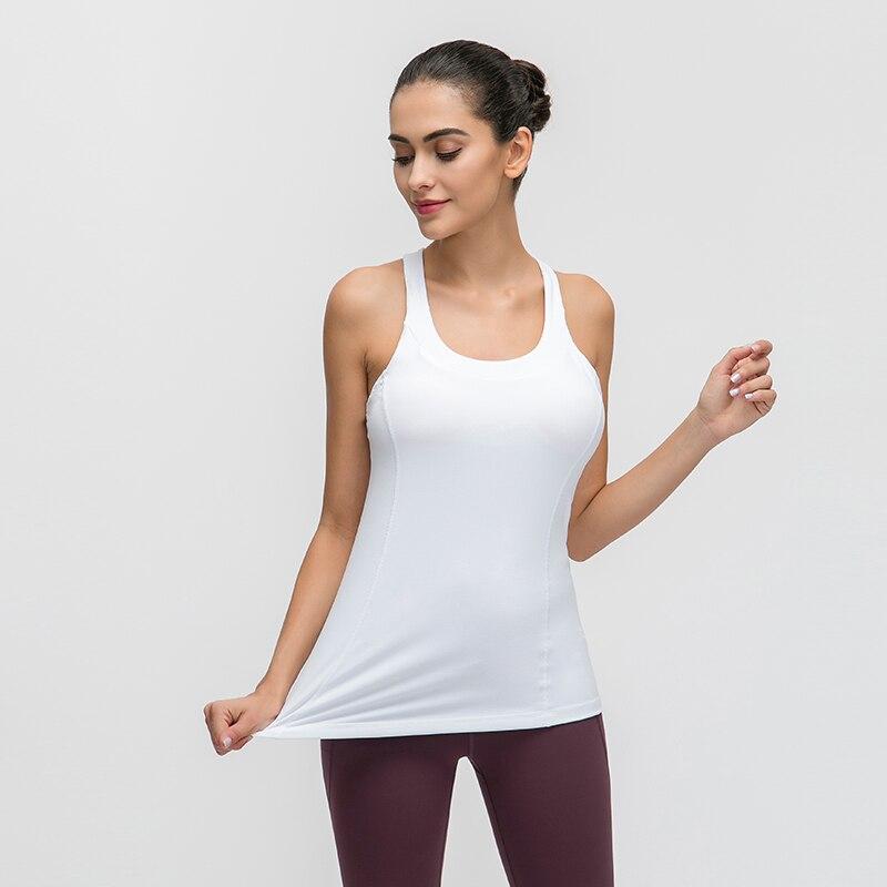 52Hz con estante-forro para sujetadores camisas de Yoga camisetas sin mangas cuello en U tirantes-back Fitness Tank ropa de mujer gimnasio chaleco pecho Pad
