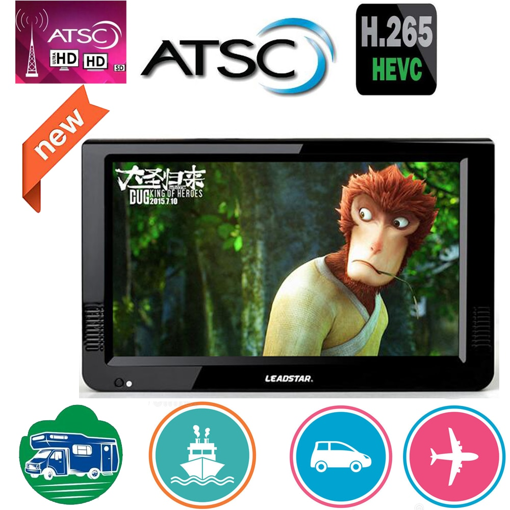 Leadstar 10 Zoll Atsc T & Analog Tragbare Mini Tv Unterstützung H265/Hevc Dolby Ac3 HDMI EINGANG Verwendet Zu hause Auto Boot Atsc Decoder