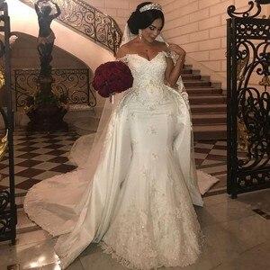 Elegant Mermaid Wedding Dresses With Detachable Train Lace Beaded Off Shoulder Bridal Gowns Applique vestido de noiva
