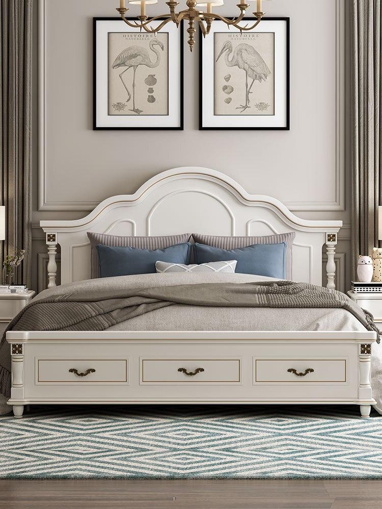 American type European type double bed master bedroom modern contracted wedding bed wood furniture princess bed 1.8 meters