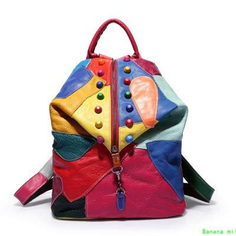 العلامة التجارية الجديدة الرجعية جلد طبيعي على ظهره سيدة على ظهره مصمم السفر الملونة المرقعة الفاخرة المتسوق حقيبة 0035