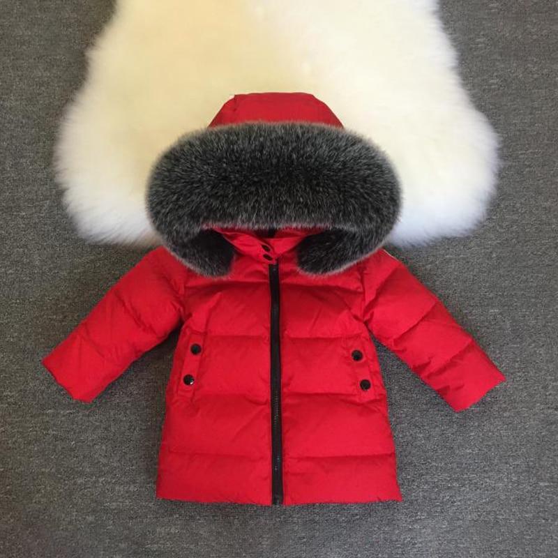 2021 Hooded Real Fur Baby Boy Jacket Down Warm Girl Winter Coat Outdoor Snowsuit Children Outerwear Thick Toddler Windbreaker enlarge