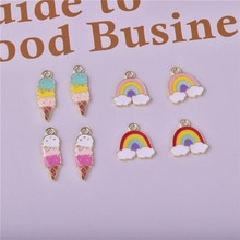 New Lce Cream Cone Rainbow Alloy Pendant 16-17mm 24-8mm Cute Bracelet Keychains Necklace Pendant Acc