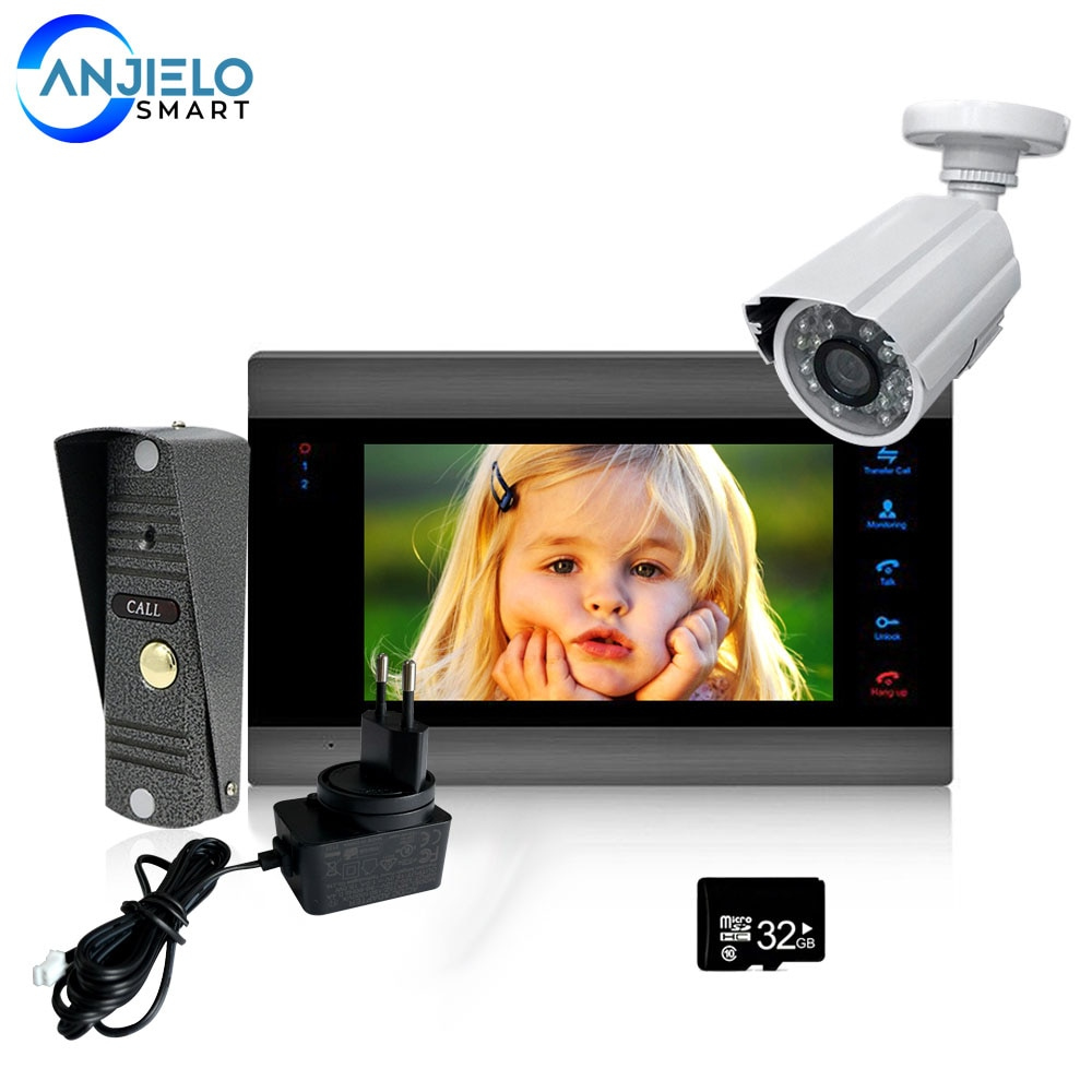 7 inch Wired Video Door Phone System 1200TVL Doorbell Camera with 32G Memory SD Card Video Intercom System for Home Security