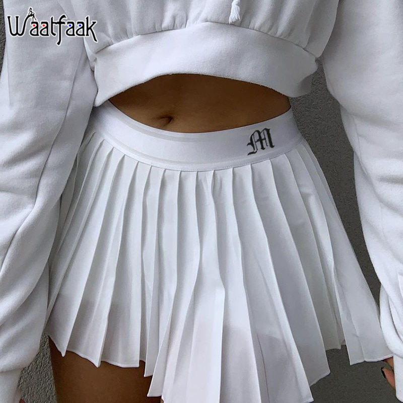 Waatfaak White Pleated Skirt Short Woman Elastic Waist Mini Skirts Sexy Mircro Summer Embroidery Mini Tennis Skirt New Preppy