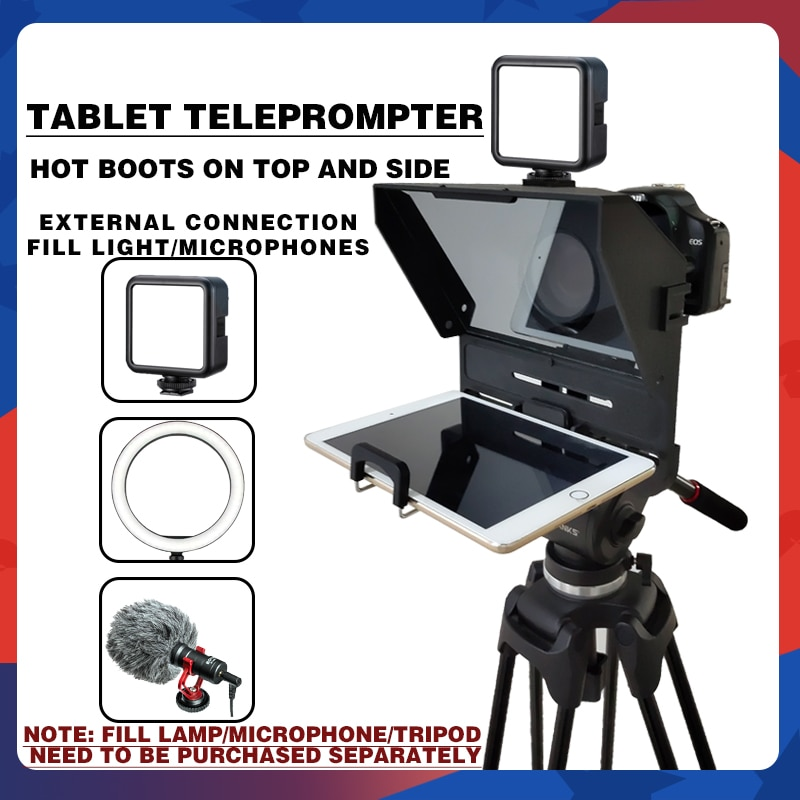 Portable Teleprompter for Tablet Phone DSLR Camera Teleprompter For Video Recording Live Broadcast With Remote Control enlarge