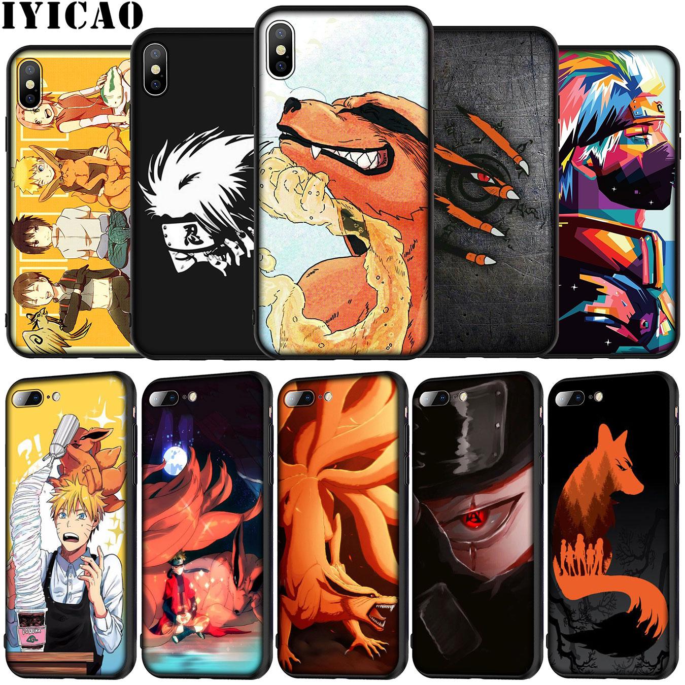 IYICAO as presas de nove caudas fox vermelho olhos naruto Silicone Suave Phone Case para iPhone 5 XR X XS Max 7 5S SE 6 6S 8 Além Disso TPU Capa