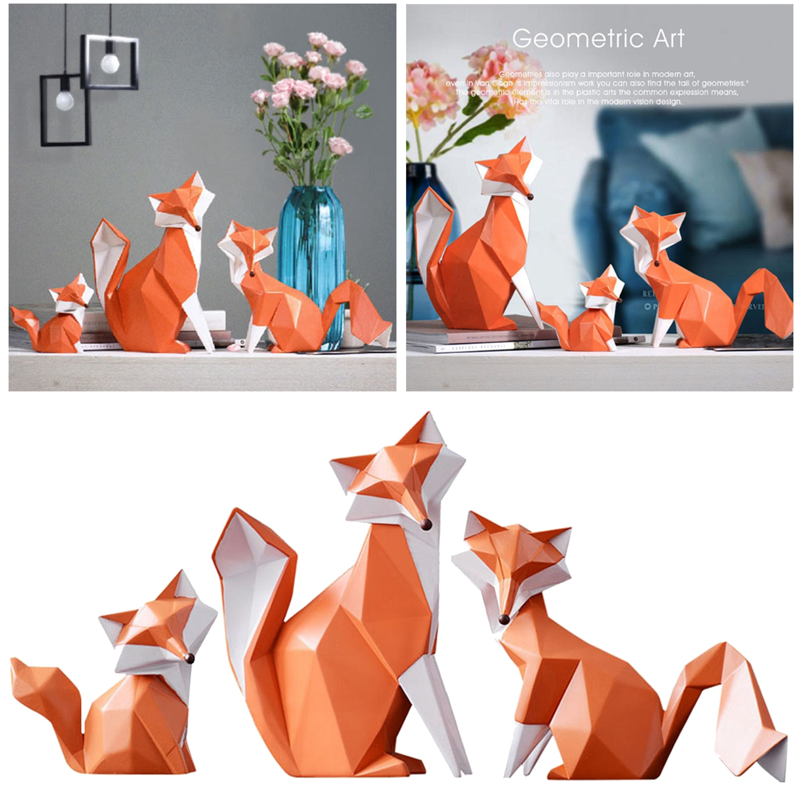 Geometric Modern Figurine Fox Statues Abstract Animal Sculpt Models Art Children  - buy with discount
