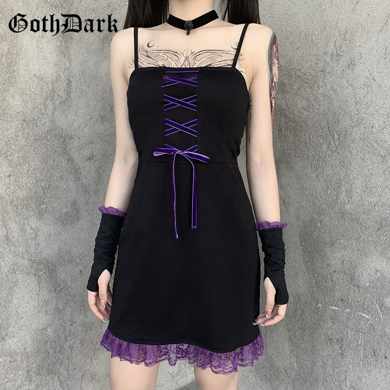 Женское платье с открытой спиной Goth Dark, винтажное Бандажное готическое кружевное лоскутное платье с черными рукавами и раздельными оборками на подоле, Осеннее мини-платье 2019