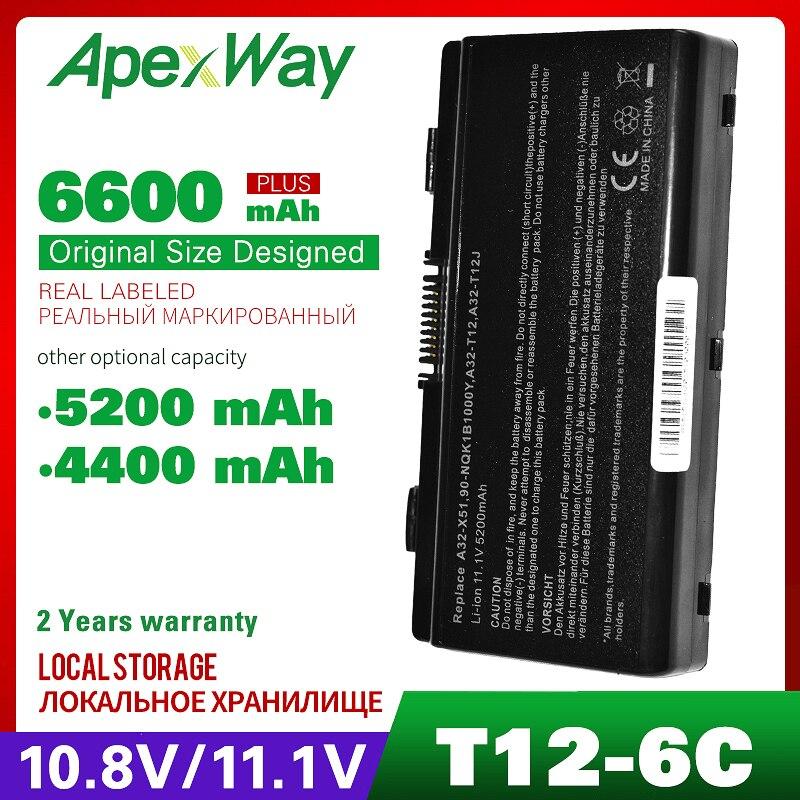 Apexway بطارية كمبيوتر محمول ل Asus A32-X51 A32-T12 90-NQK1B1000Y X58 T12 T12C X51H X51C X51R X58C X58L X51L