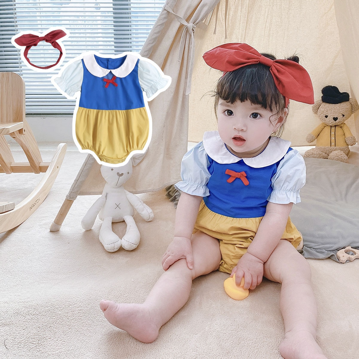 Paoke children's clothing 2021 summer baby clothing short creeping suit newborn short sleeve bag farting suit