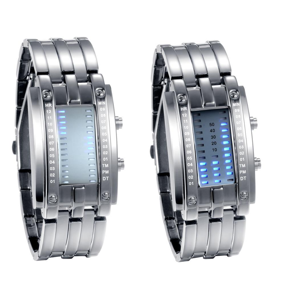 Binário de Luxo Relógios para Homem e Mulher Relógio de Pulso Lancardo Sistema Display Horas Relógio Casal Masculino 2021 Led