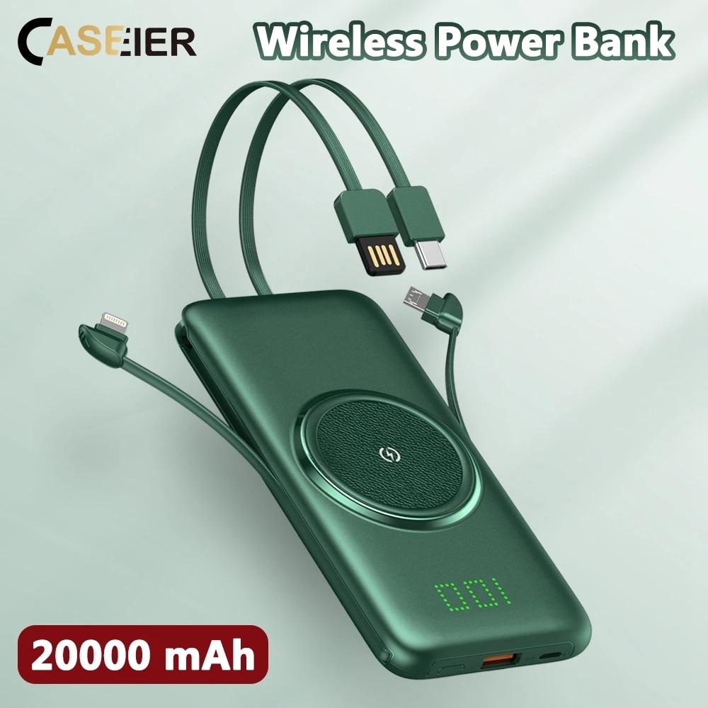 CASEIER قوة البنك 20000mAh اللاسلكية المحمولة تجدد Powerbank 4 كابل 10000mAh البنوك سريع تهمة ل Xiaomi كاريكا Batteria Cellulare