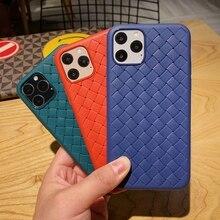 Intrecciato Gevlochten Weave Grid Volledige Beschermende Zachte Siliconen Tpu Case Cover Voor Iphone 6 6S 7 8 Plus 11 pro X 10 Xs Max Xr Se 2020 Telefoonbumper    -