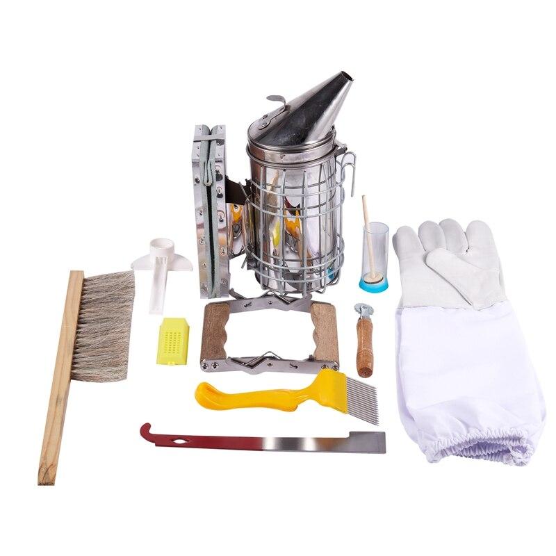 1 Set 10 en 1 de Metal de abejas Kit de herramienta de la colmena de la abeja de la apicultura Kit de fumador de la apicultura herramientas apícolas accesorio