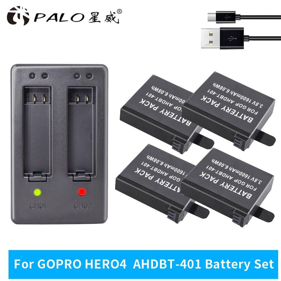 PALO 4 шт. 1600 мАч AHDBT-401 AHDBT 401 AHDBT401 HERO4 HERO 4 камера батарея для GO PRO + двойной порт домашнее зарядное устройство для AMKOV 7000S