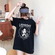 하라주쿠 고딕 펑크 수요일 인쇄 그래픽 Tumblr 탑스 여름 kpop 캐주얼 느슨한 반소매 o-넥 그런지 블랙 티셔츠 여성