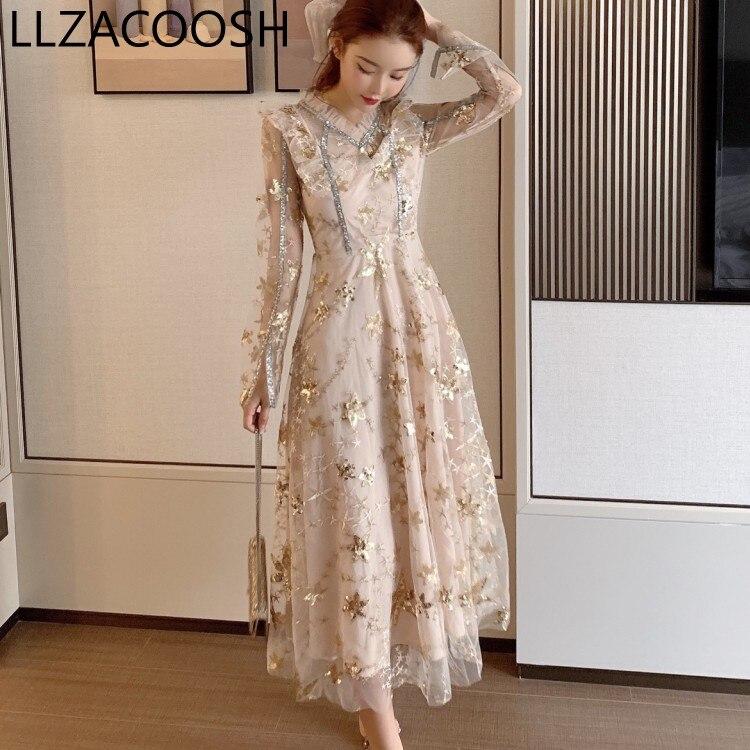 Nuevo 2019 diseñador de pasarela lentejuelas malla bordado flor mujer otoño Sexy cuello en V manga larga vestido de fiesta bata Mujer Vestidos
