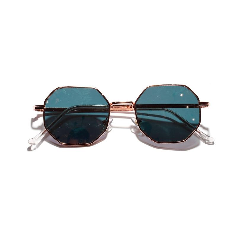 2019 Retro polygon sunglasses Men Women Luxury pink Lens Round Sunglasses Vintage Small frame Mirror color