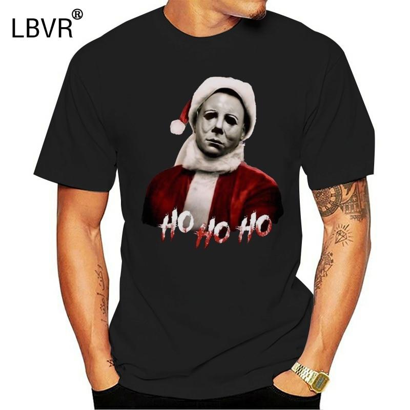 Michael Myers Ho Ho Ho Halloween Geschenk T Shirt Schwarz Baumwolle Männer S-3Xl Vollschlanke T Hemd