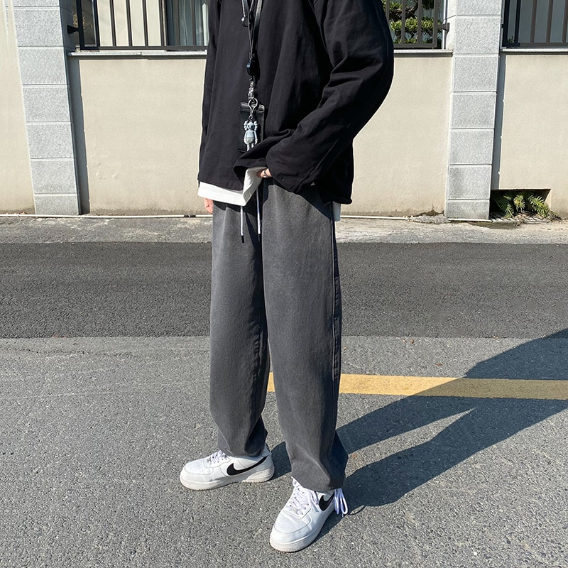 Straight Harem Jeans Summer Autumn Korean Man Loose Denim Trousers Streetwear Male Casual Pants Men'
