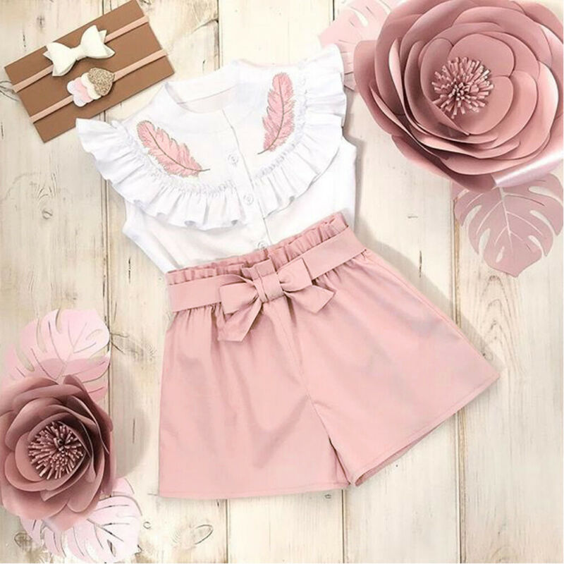 Lovely Kid Baby Girls Feather Clothes Sets Summer Sleeveless Tops Bandage Shorts 2pcs Outfits Fashion Clothing 2-6Years