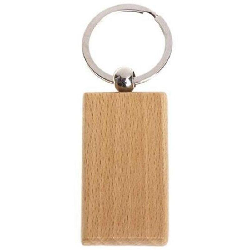 60 قطعة مستطيل فارغة خشبية مفتاح سلسلة Diy بها بنفسك الخشب سلاسل المفاتيح مفتاح العلامات يمكن نقش Diy بها بنفسك الهدايا