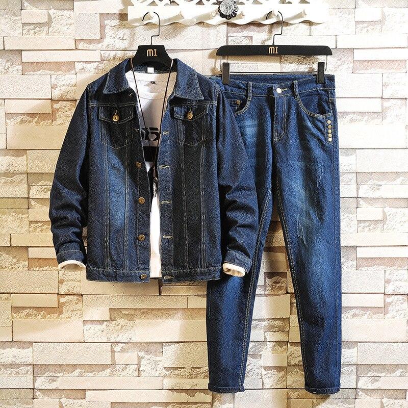 Autumn New Denim Coat Men Suit Safari Style Fashion Solid Cargo Jacket Multi-pockets Trousers Two Piece Set Oversize 4XL