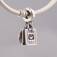 S925 pendentif bijoux à bricoler soi-même Shopping reine balancent breloque Bracelet Pandora Bracelet cadeau émail rose doux