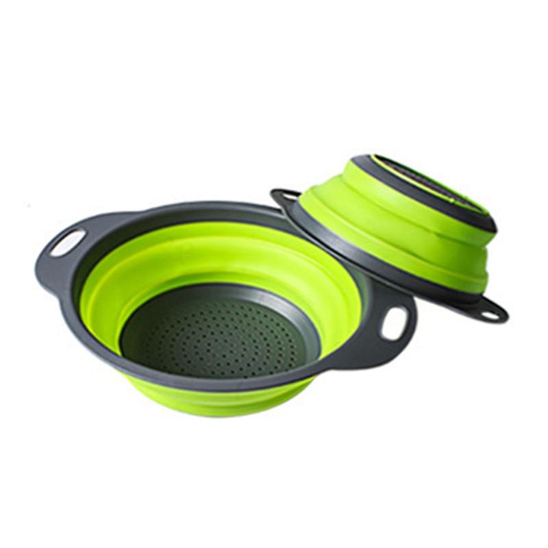 Цельнокроеная складная корзина для слива большого размера-зеленая круглая корзина для слива, телескопическая складная корзина для слива, 1 шт., резиново-пластиковая корзина для фруктов