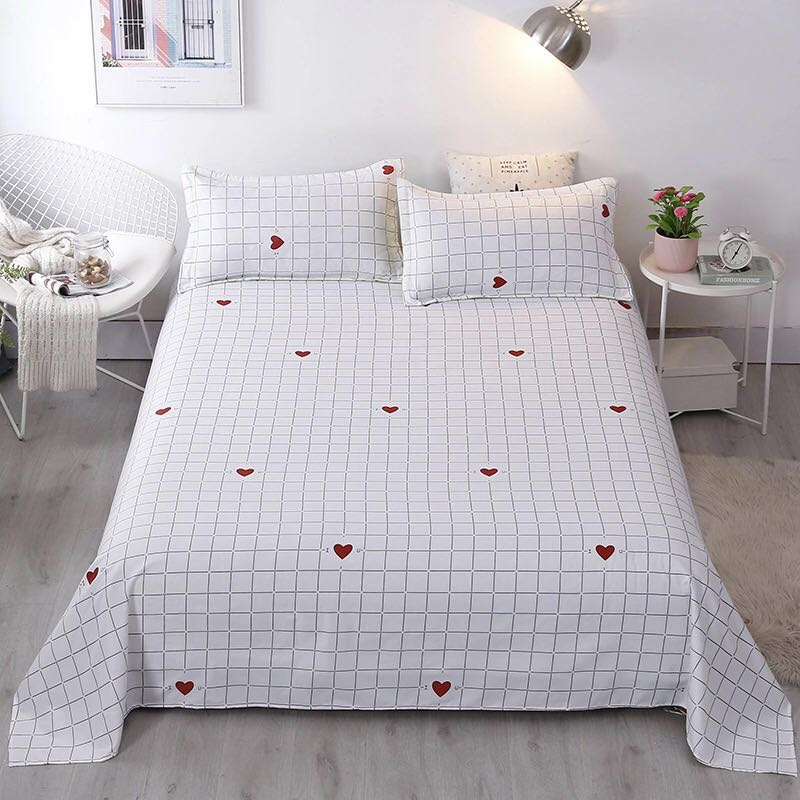 2020 bed set 3 pcs  of single bed sheets for students' dormitories 4 size and double beds by single /double bed