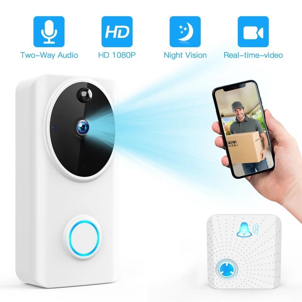 SUNTEX Smart 1080P inalámbrico Tuya Wifi Video timbre teléfono llamada Puerta campana Cámara registro seguridad monitoreo Amazon Alexa