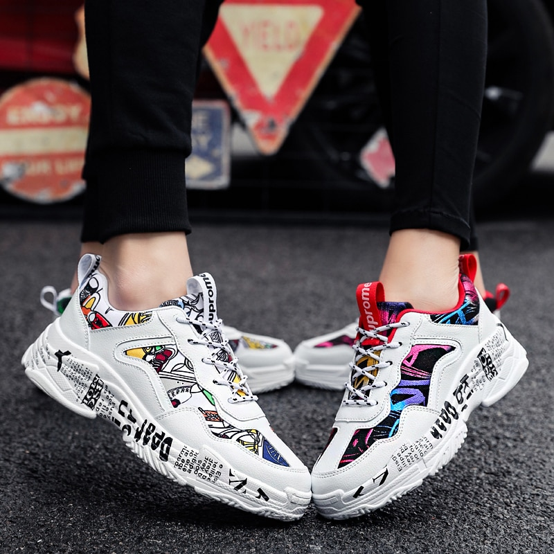 Mens Chunky Sneakers Men Women Spring Fashion Casual White Shoes Woman Vulcanized Shoes Breathable Men Casual Sports Shoes  - buy with discount