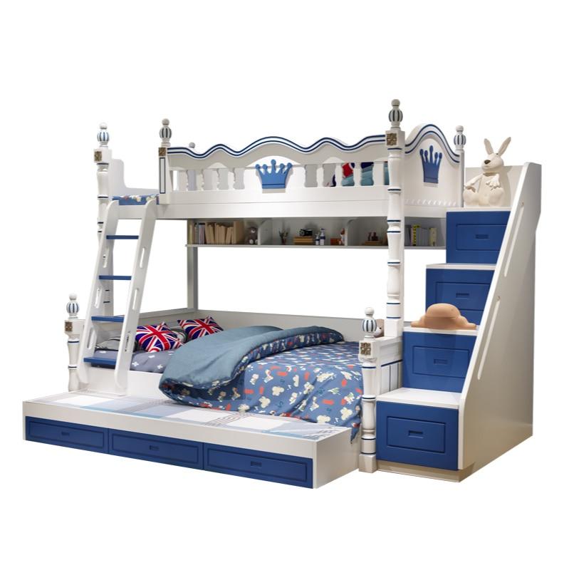Cama de madera para niños, cama doble superior e inferior, moderna, arriba...