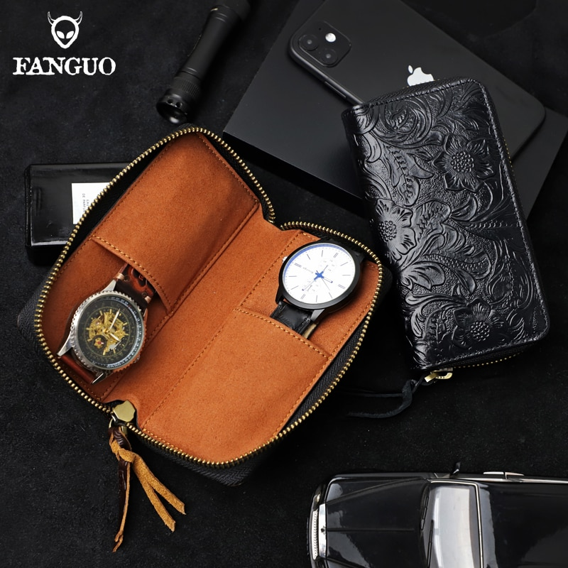 Retro Genuine Leather 2 - Slot Watch Box Handmade Portable Organizer Watches Bag With Zipper Two Watch Holds Bag