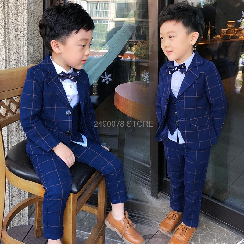 Top Quality Flower Boys Wedding Suit Gentleman Kids Formal Tuxedo Dress Children Party Performance Dress Costume
