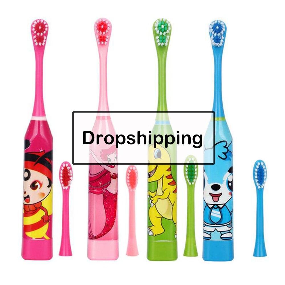 Cepillo de dientes eléctrico para niños con diseño de dibujos animados cepillo de dientes de doble cara cepillo de dientes eléctrico para niños con 2 uds cabeza de repuesto