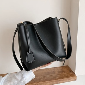 Small PU Leather Bucket Bags For Women 2021 Winter Solid Color Shoulder Handbags Female Travel Lady Fashion Branded