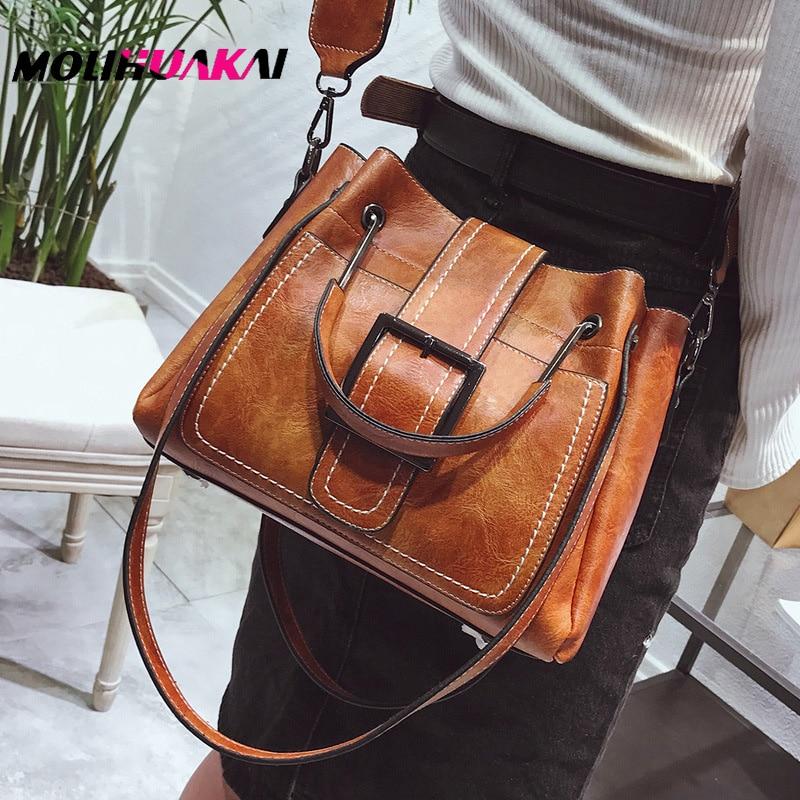 Hot Sale PU Leather Crossbody Bags For Women 2020 Big Totes With Metal Handle Lady Shoulder Messenger Bag Handbags Sac A Main