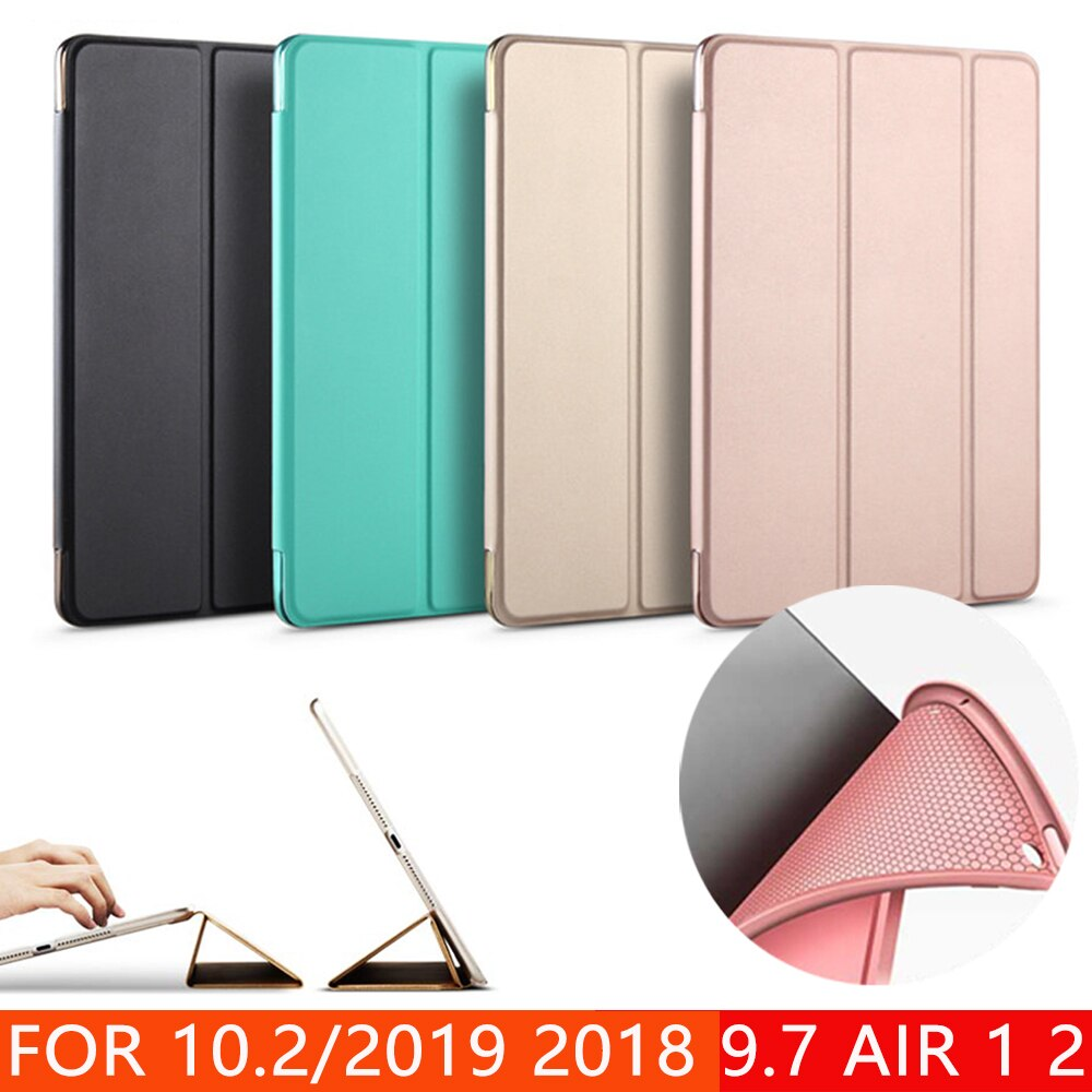 Fall für Neue iPad 9,7 10,2 zoll 2017 2018 2019 Air 1 Air 2 Funda Weiche silikon unten Zurück PU leder Smart Cover Auto-Sleep