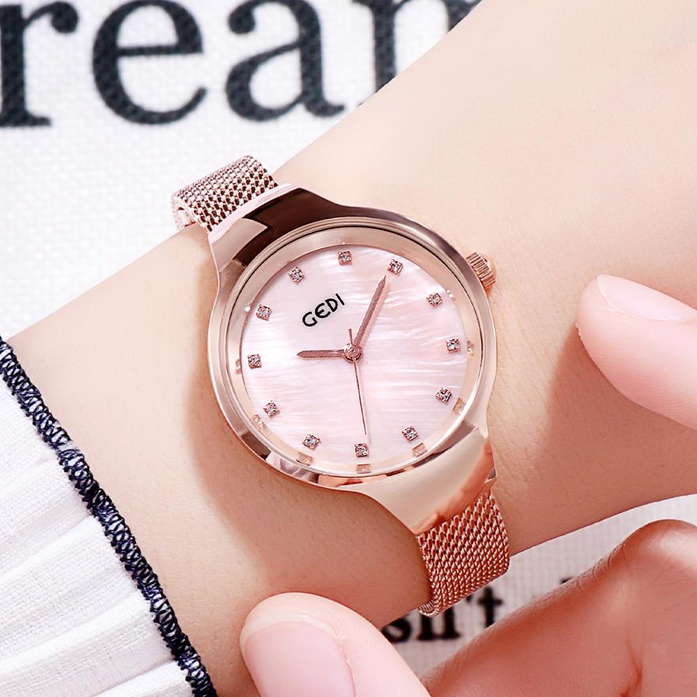 Rose Gold Women Watches Luxury Brand Small Steel Mesh Strap Diamond Woman Quartz Wristwatch Waterpro