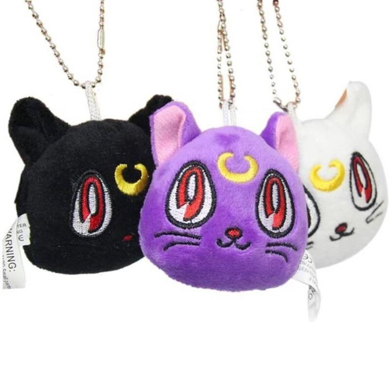 LLavero de gato negro Luna Diana de juguete de peluche, llavero de Sailor Moon de Anime japonés, joyería de cadenas para hombres y mujeres, joyería al por mayor