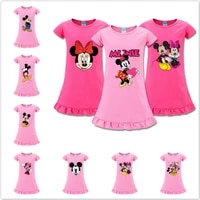 summer baby girl princess dresses kid short sleeve vestido cartoon mickey minnie mouse print party dress children casual clothes